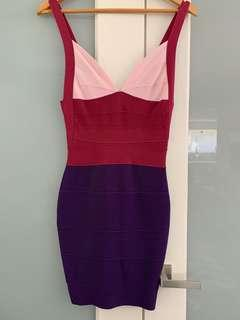 Tri-toned bandage dress