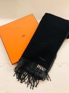 Hermes 100% cashmere black scarf