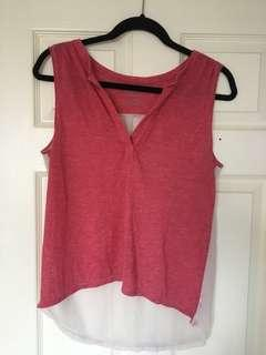 Red Shirt with Chiffon Back