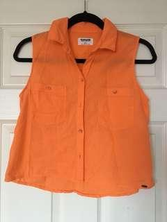 Orange Button-Up Blouse