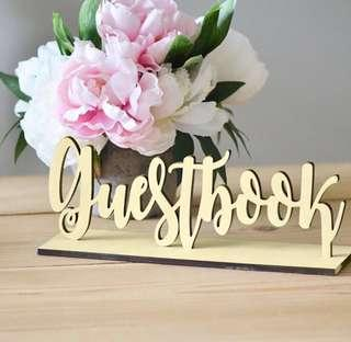 Brand New Wooden Guestbook Standing Sign