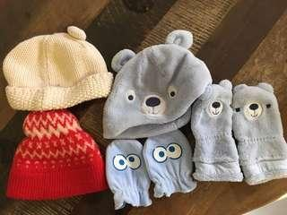 Baby gloves & hats for 3 to 6 months