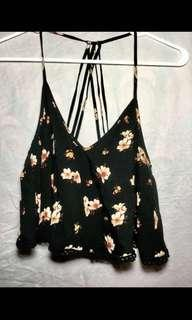 Size small black floral crop top
