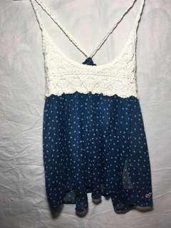 Women's Blue and white Hollister tank top with crochet detailing