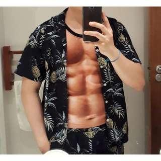 Mens Hawaii Shirt Beach Leisure Shirt And Shorts
