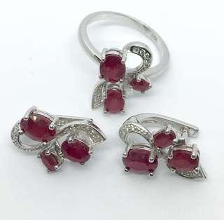 (SOLD) Genuine Ruby earrings and ring set