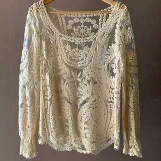White Sheer Embroidered Lace Top