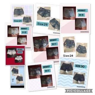 Denim shorts 28-32 Sale!