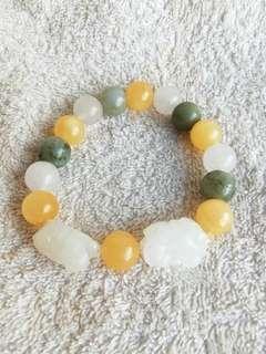 🚚 (23% Off) Natural PiXiu Jadeite Bracelet 天然的貔貅翡翠手链
