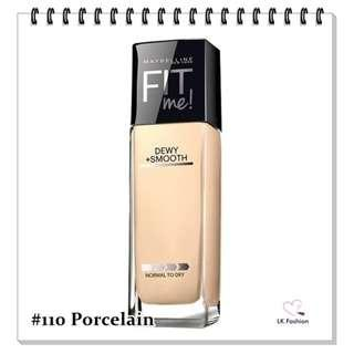 🚚 💕 Instock 💕 Maybelline Fit Me DEWY + Smooth Foundation 💋 #110 Porcelain 💋