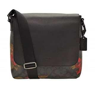 100% Authentic & BNWT COACH Bag Charles Messenger Signature in Black Red Floral