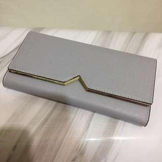 韓國帶回 灰藍色長夾 grey-blue wallet 金色邊 golden trimmed