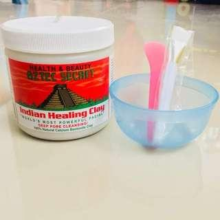 AZTEC SECRET INDIAN HEALING CLAY MASK WITH FREE MIXING BOWL SPATULA AND BRUSH