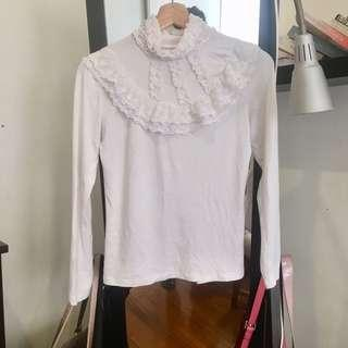 White Frilly High Neck Top