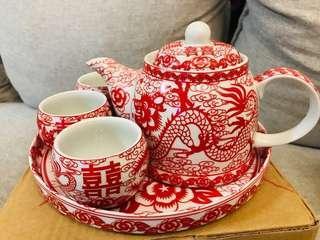 結婚用品 婚禮物資 敬茶茶壺 敬茶茶杯 木牌 喜字利是封 紅傘 禮炮