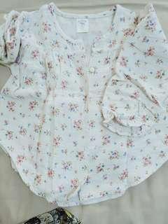 🚚 二手甜美棉麻娃娃上衣 約105以下穿