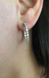 14k In and out earrings with diamonds