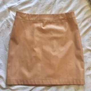 Bardot Beige/Blush Faux Leather A-Line Skirt