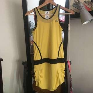 Adidas Yellow and Black Frilly Tennis Dress