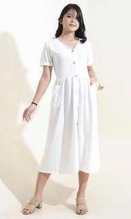 NEW White Vneck Button down Midi Dress