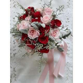 Rustic Fresh Red & Light Pink bridal bouquet (Wedding / ROM/ Bridesmaid / Proposal/ Anniversary/Birthday)