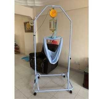 Baby Cradle, Blue, comes with the Net, Electronic Baby Cradle & 6x Springs