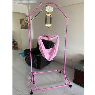 Baby Cradle, Pink, comes with the Net, Electronic Baby Cradle & 6x Springs