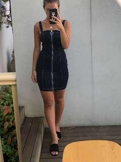 Dark denim zip dress