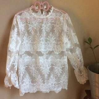 Zara inspired White Lace Top