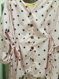 Blouse polkadot pink kalem