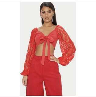 Red Lace sleeve tie blouse
