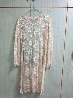 Lace Long Dress with Green Songket
