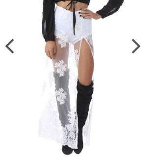 Verge Girl White Festival Lace Maxi Skirt
