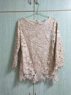 Gold Lace Top with nude coloured inner lining