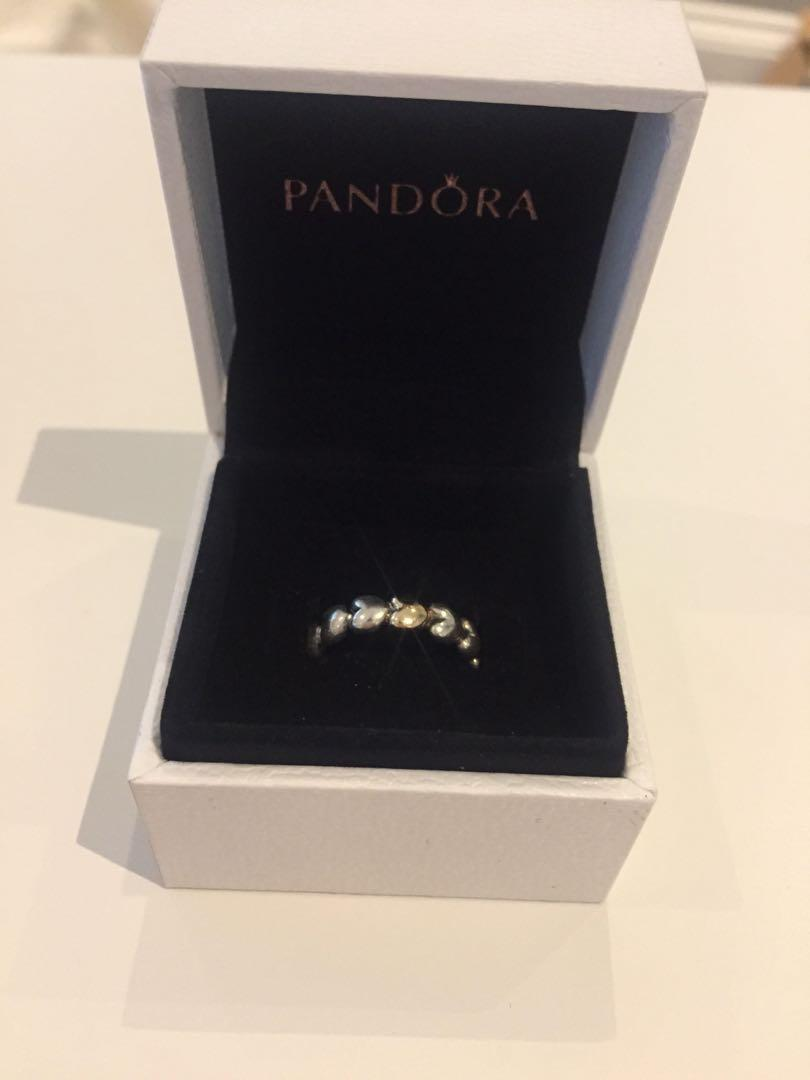 14ct gold and silver heart pandora ring