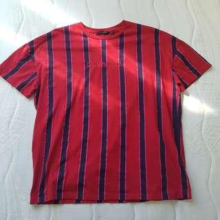 PENSHOPPE EMBROIDERED STRIPE OVERSIZE SHIRT RED