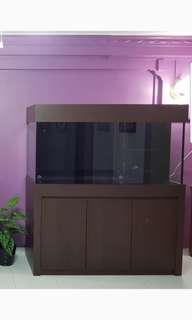 5ft fish tank with sump and cabinet