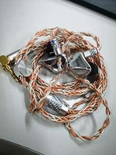 RX4 2圈2鐵 mmcx跟1條鍍銀線+1條銅銀混編升級線