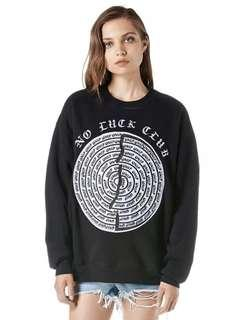 RARE NEW UNIF 'NO LUCK CLUB' Black Sweater