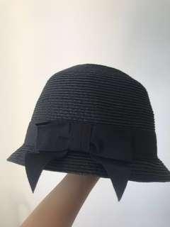 優雅黑色蝴蝶結帽 black ribbon black hat