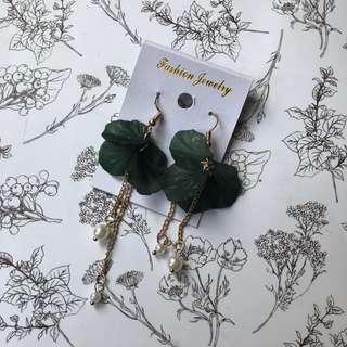 Green Flowers Hook Earrings Anting
