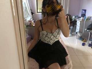 Dotti Black Cute Flowy Floral Lace Top Evening Dress