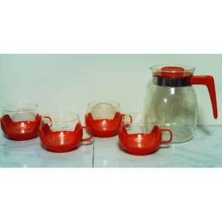 Retro Orange Glass Coffee / Tea Set (1 pot + 4 cups) Made in Germany (PYREX?)