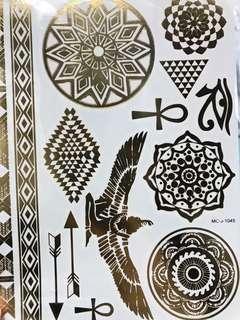 全新 燙金印水紙 紋身貼紙 包郵 temporary tattoos stickers