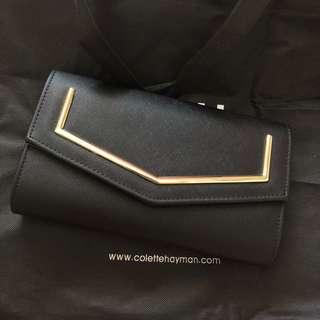 Colette Black with Gold Detail Chain Clutch