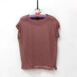 Topshop Metallic Pink Top