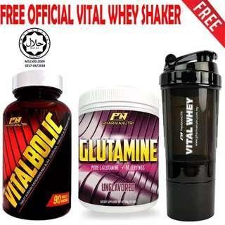 Vitalbolic Muscle Growth Activator by Pharmanutri, 90 Tablets, 45 Servings (Orange) + Halal Glutamine by Pharmanutri, Pure L-Glutamine 250g, 50 Servings (Unflavored) + FREE 3-in-1 Pharmanutri Vital Whey Protein Shaker/Blender/Mixer 17oz/500ml (Black)