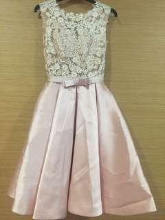 Embroidery mesh prom dress