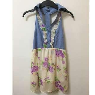 棉麻 雪紡拼接洋裝