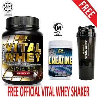 250g, 50 Servings (Unflavored) + FREE 3-in-1 Pharmanutri Vital Whey Protein Shaker/Blender/Mixer 17oz/500ml (Black)